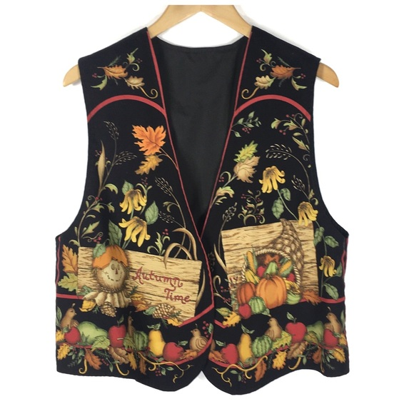 Jackets & Blazers - Autumn Time Fall Black Vest Size XL